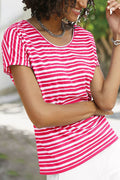 Striped Print Crew Neck Casual Short Sleeves T-shirt