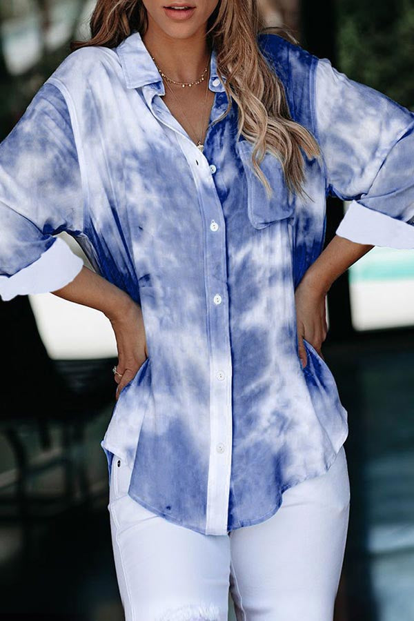 Gradient Print Paneled Curved Hem Buttoned Casual Blouse