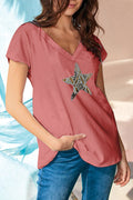 Paneled Star Jacquard V-neck Casual Short Sleeves T-shirt
