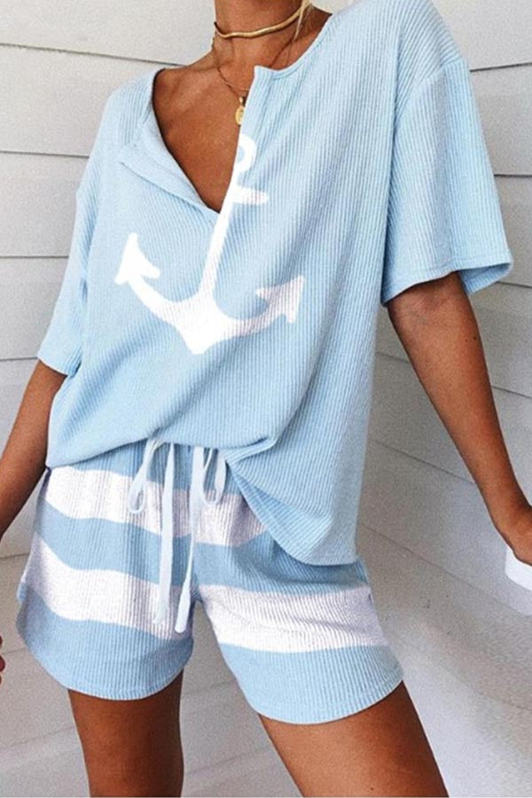 Casual V-neck Blouse With Short Pants Two-pieces Set