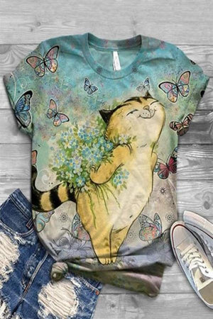 Casual Cartoon Cat Floral Butterfly Print Paneled T-shirt