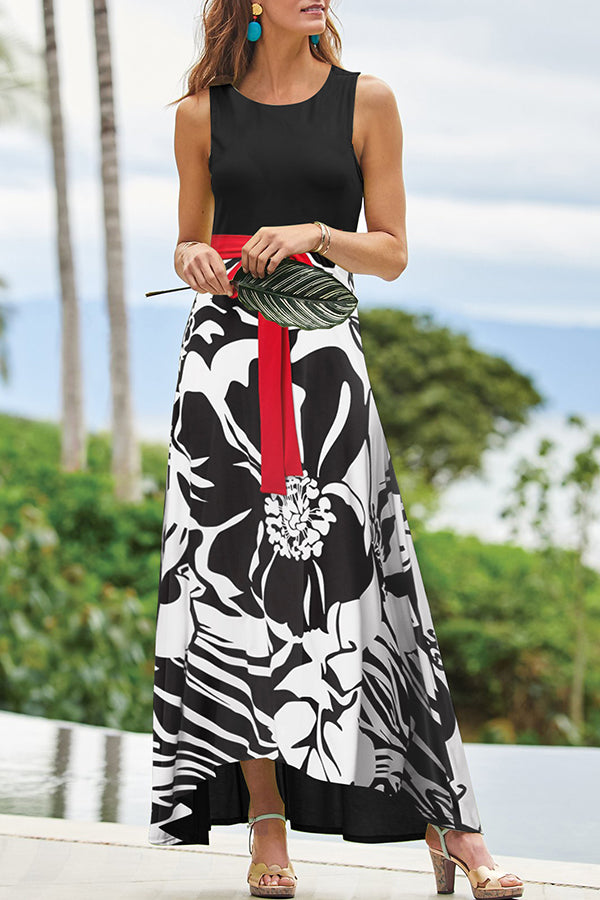 Elegant Floral Print Color-block Sleeveless Maxi Dress