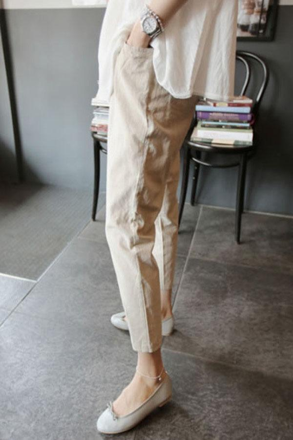 Solid Casual High Waist Pockets Stomach Lift Pants