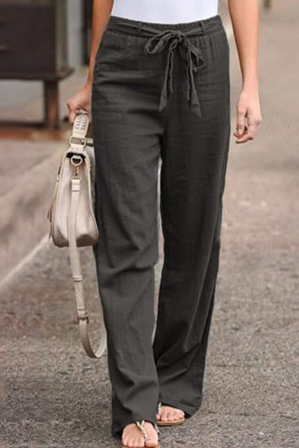 Solid Casual Self-tie Paneled Pants