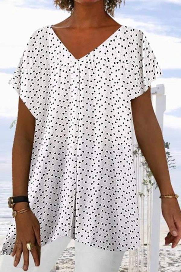 Print Paneled V-neck Short Sleeves Casual Blouse