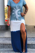 Color-block Graphic Print V-neck Casual Slit Maxi Dress