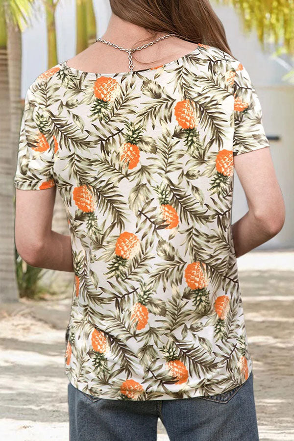 Holiday Pineapple Print V-neck Short Sleeves T-shirt