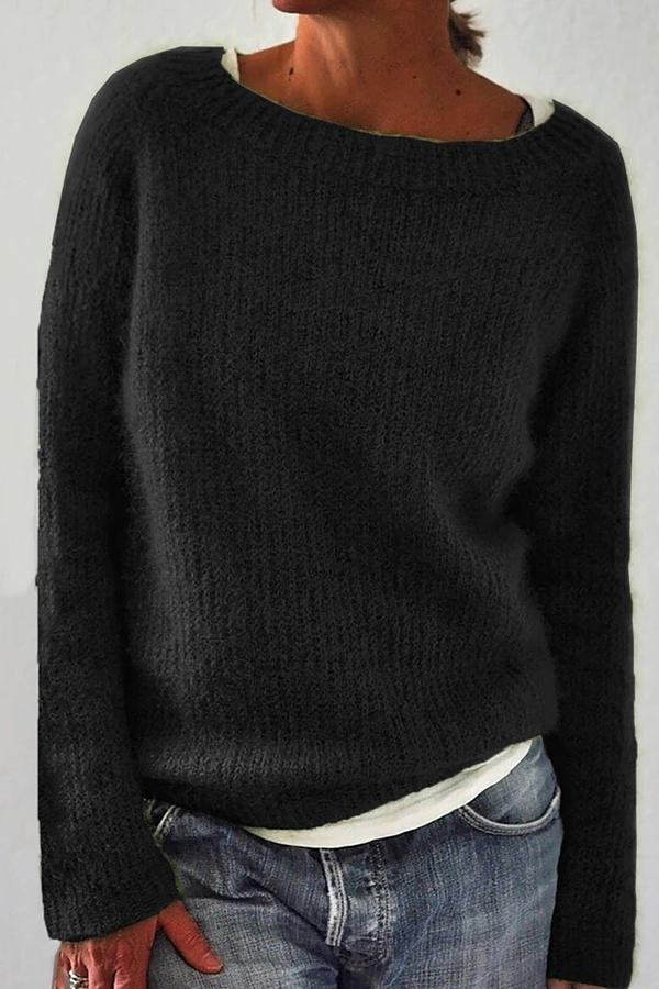 Solid Ribbed Crew Neck Casual Knitted Sweaters