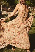 Holiday Floral Butterfly Print Spaghetti Backless Maxi Dress