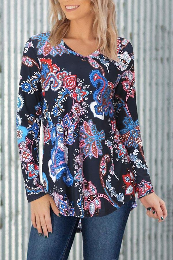 Print V-neck Paneled Vintage High Low Blouse