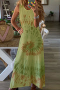 Gradient Print Sleeveless Paneled Casual Maxi Dress