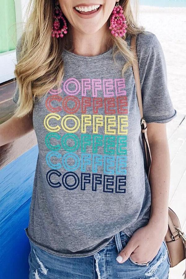 Letter Print Crew Neck Short Sleeve Casual T-shirt