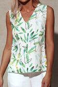 V-neck Sleeveless Print Paneled Casual Slit Blouse
