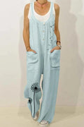 Dandelion Print Paneled Buttoned Pockets Casual Wide Leg Jumpsuit