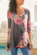 V-neck Paneled Floral Print Long Sleeves T-shirt