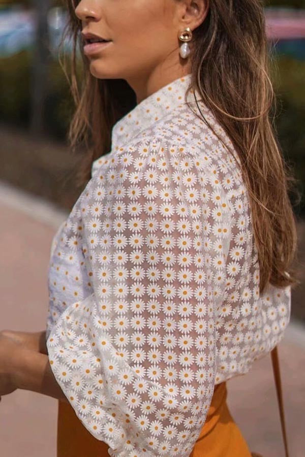 Elegant Daisy Print Buttons Down See-through Look Blouse