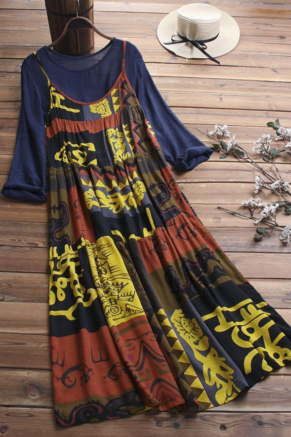 Graphic Print Paneled Pleated Vintage Maxi Dress