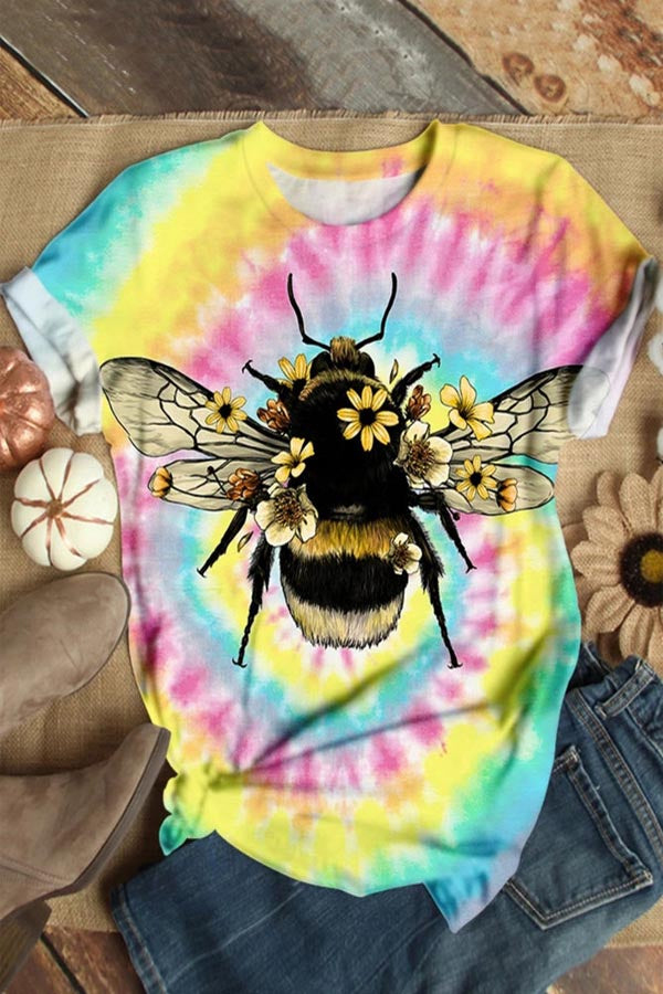 Bee Floral Gradient Print Casual Short Sleeves T-shirt