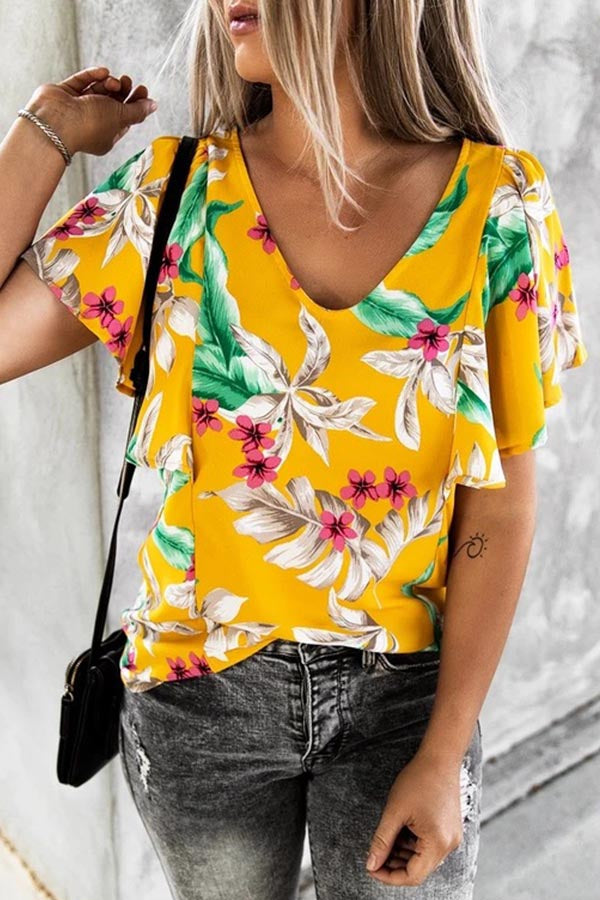 Floral Print V-neck Paneled Holiday Chiffon Blouse