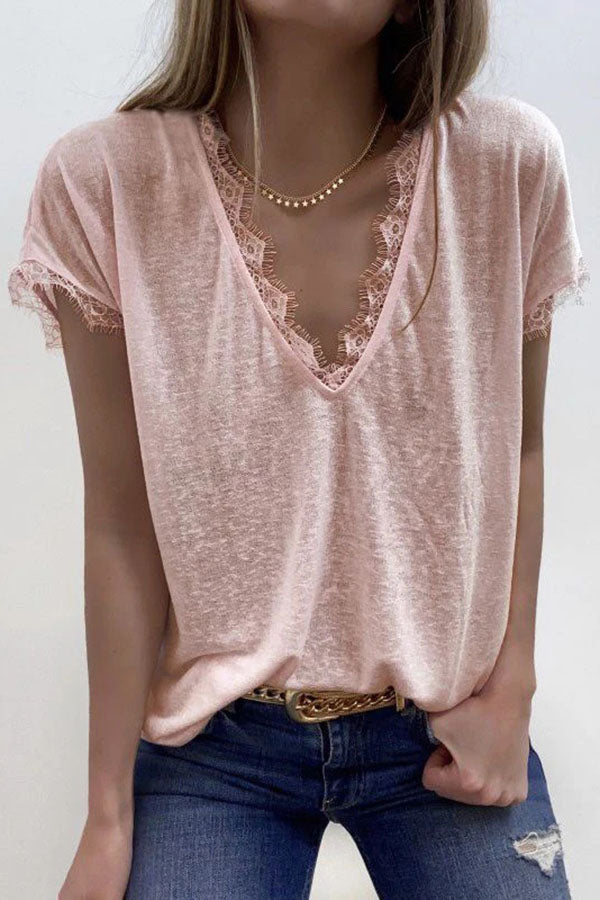 Paneled Lace V-neck Casual Solid Short Sleeves T-shirt