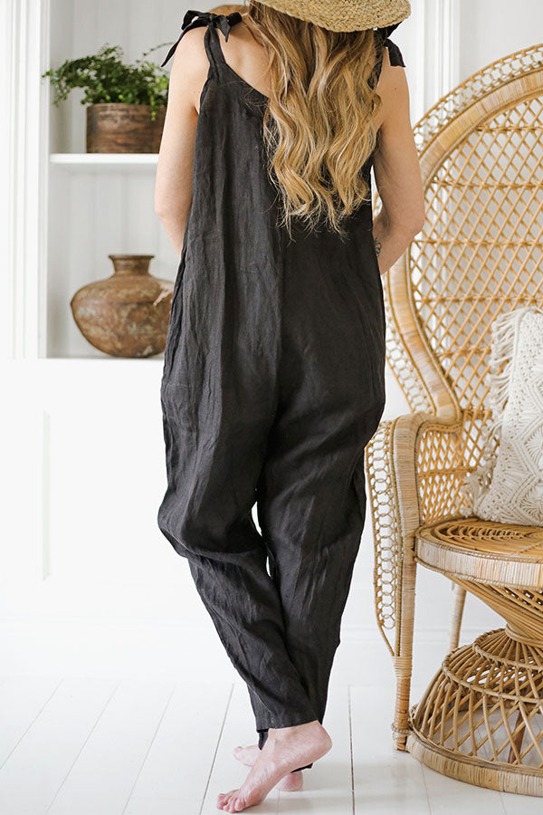 Casual Solid Spaghetti Paneled Side Pockets Harem Jumpsuit