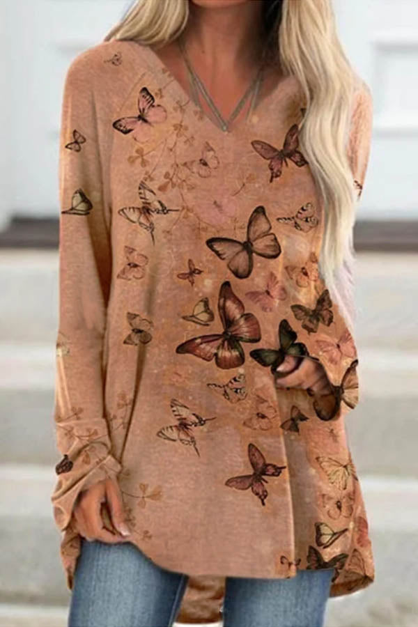 Butterfly Print Casual Paneled V-neck Long Sleeves Blouse