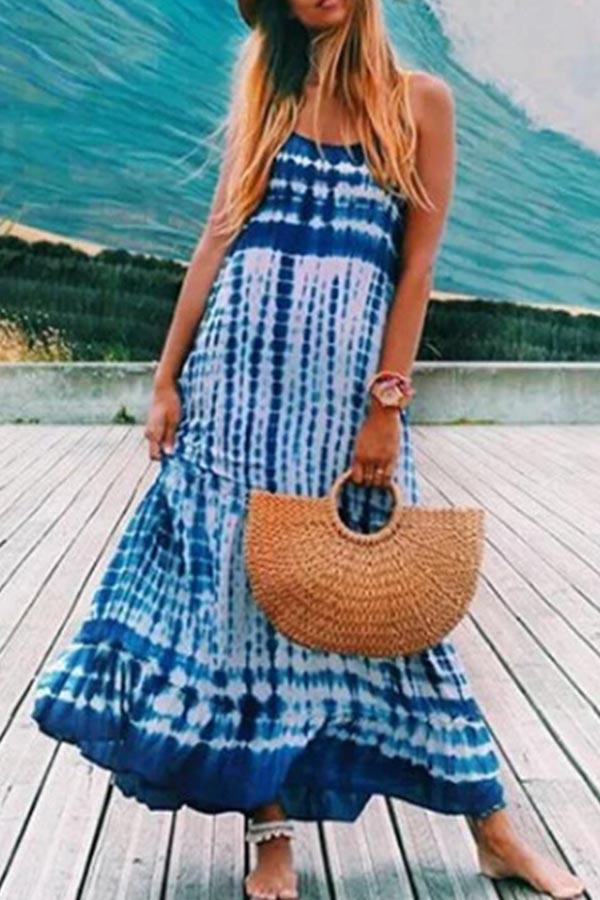 Paneled Gradient Print Sling Holiday Maxi Dress