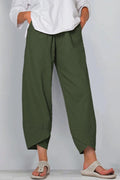 Solid Casual Paneled Pockets Cross Front Hem Harem Pants