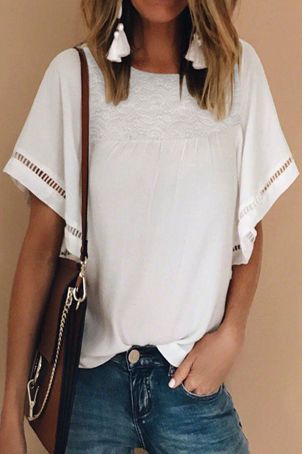 Casual Solid Paneled Lace Cutout Short Sleeves T-shirt