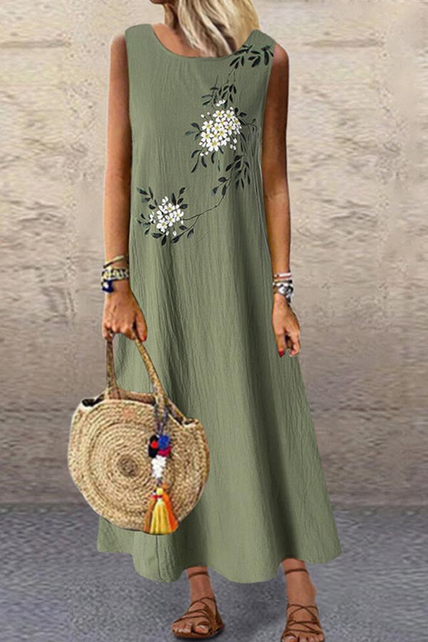 Sleeveless Floral Print Side Pockets Vintage Maxi Dress