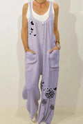 Butterfly Dandelion Print Buttoned Paneled Pockets Casual Jumpsuit