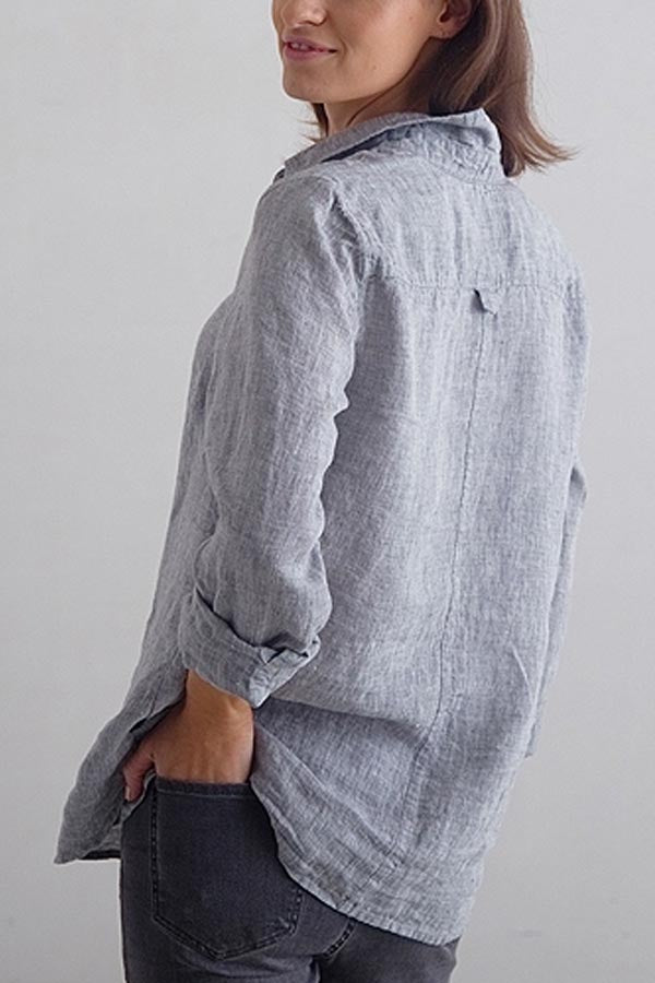 Casual Solid Buttons Down Shirt Collar Paneled Blouse