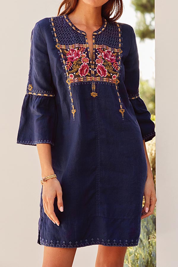 Holiday Floral Embroidery Paneled V-neck Bell Sleeves Mini Dress