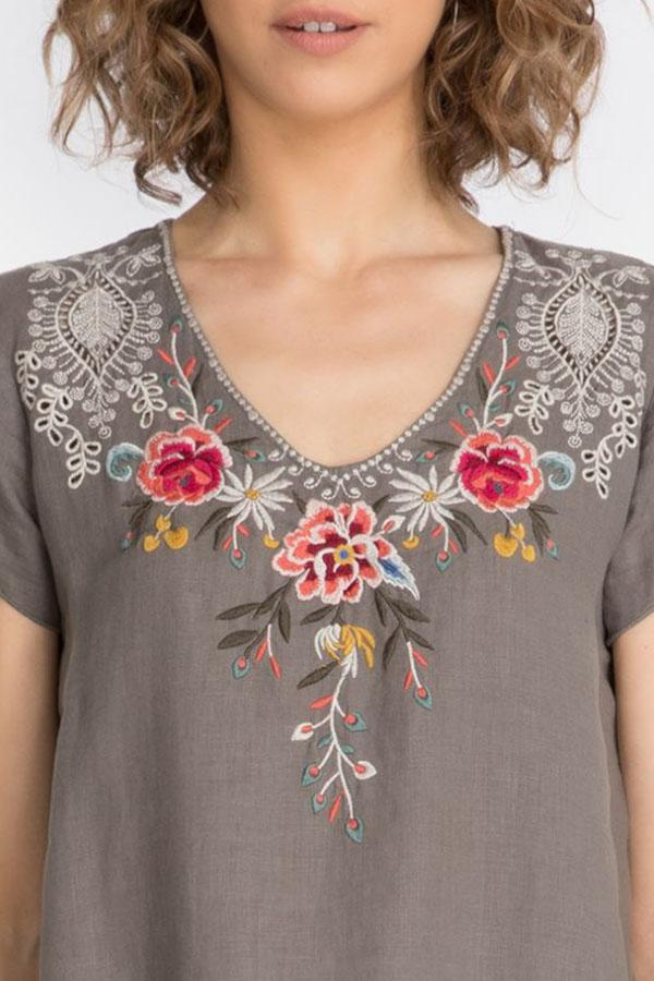 V-neck Floral Embroidery Holiday Short Sleeves Mini Dress