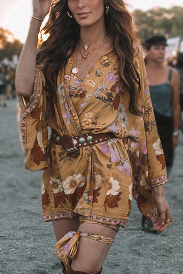 Bohemian Floral Print Cross Front V-neck Holiday Mini Dress