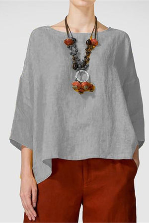 Paneled Solid Half Sleeves Casual Crew Neck Blouse
