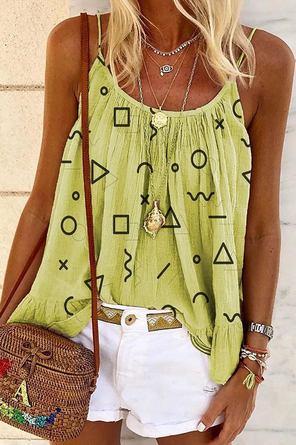 Geometric Print Sling Sleeveless Casual Blouse