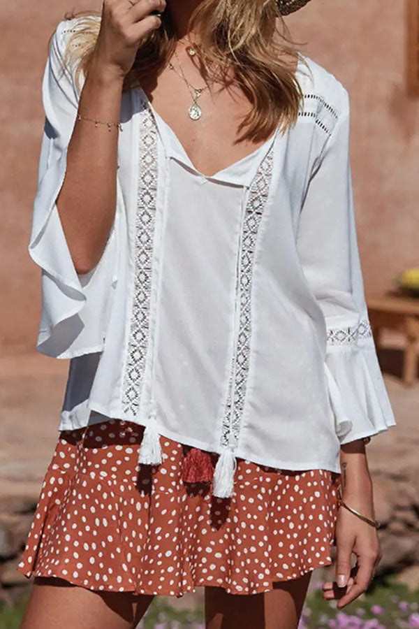 Elegant Solid Paneled Hollow Out V-neck Bell Sleeves Blouse