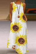 Print Crew Neck Sleeveless Side Pockets Holiday Maxi Dress