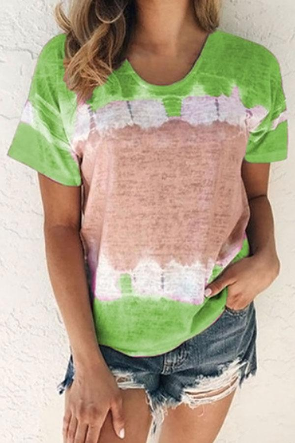 Color-block Gradient Print Short Sleeves Casual T-shirt