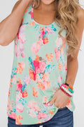 Floral Print Paneled Sleeveless Pleated Casual Blouse