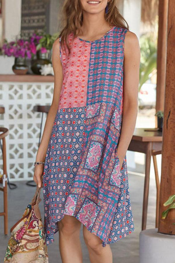 Bohemian Geometric Print Irregular Hem Pockets Holiday Midi Dress