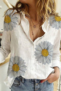 Daisy Print Buttons Down Shirt Collar Casual Blouse