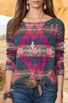 Geometric Print Paneled Vintage Long Sleeves T-shirt