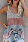Knitted Spaghetti Holiday Sleeveless Ribbed Blouse