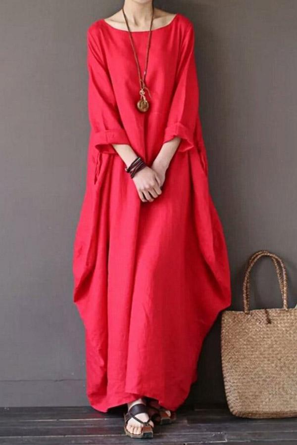 Solid Paneled Casual Irregular Hem Maxi Dress