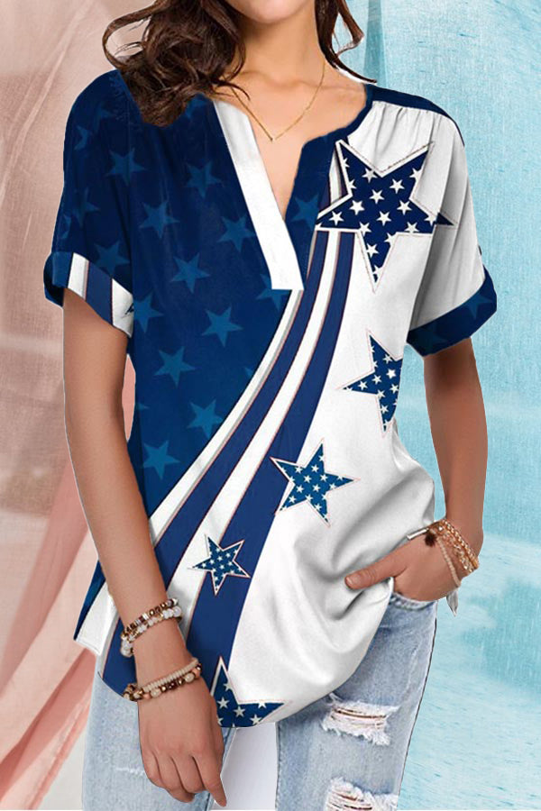 Star Print Paneled V-neck Casual Short Sleeves Blouse