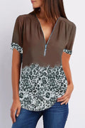 Leopard Paneled Print Color-block Zipper V-neck Blouse