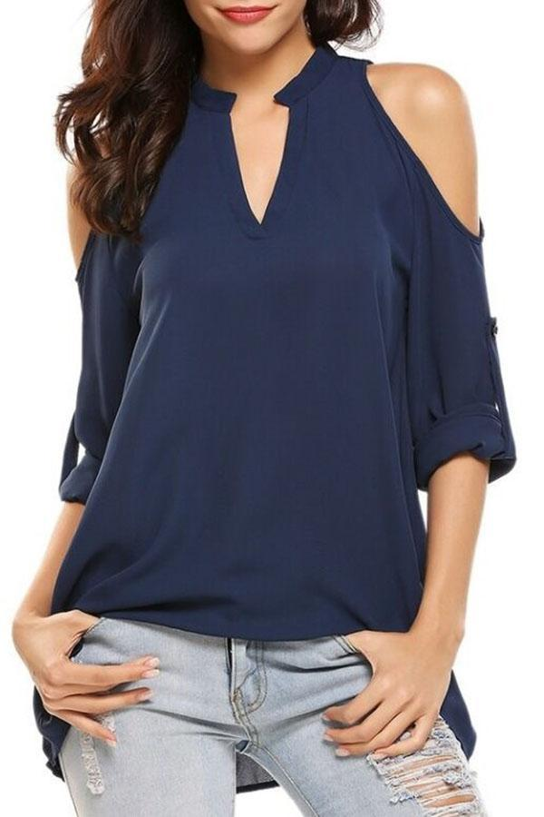 V Neck Solid Cold Shoulder Casual T-shirts