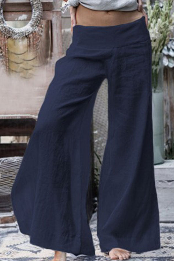 Casual Solid Paneled Loose Wide Leg Pants